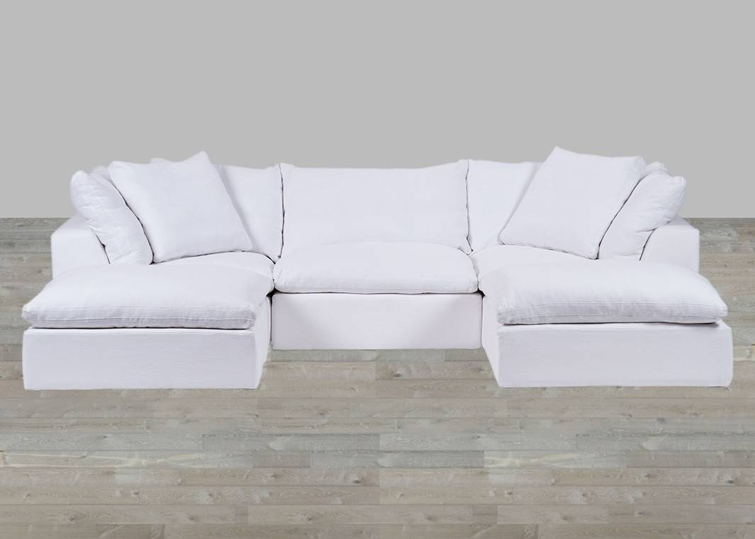 White Cloud Modular Preconfigured Fabric Sofa with White Fabric Sofas (Image 27 of 30)