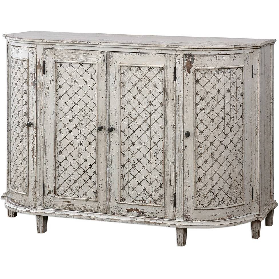 White Farmhouse Curved Sideboard - Aged Eyelet Motif throughout Curved Sideboards (Image 30 of 30)
