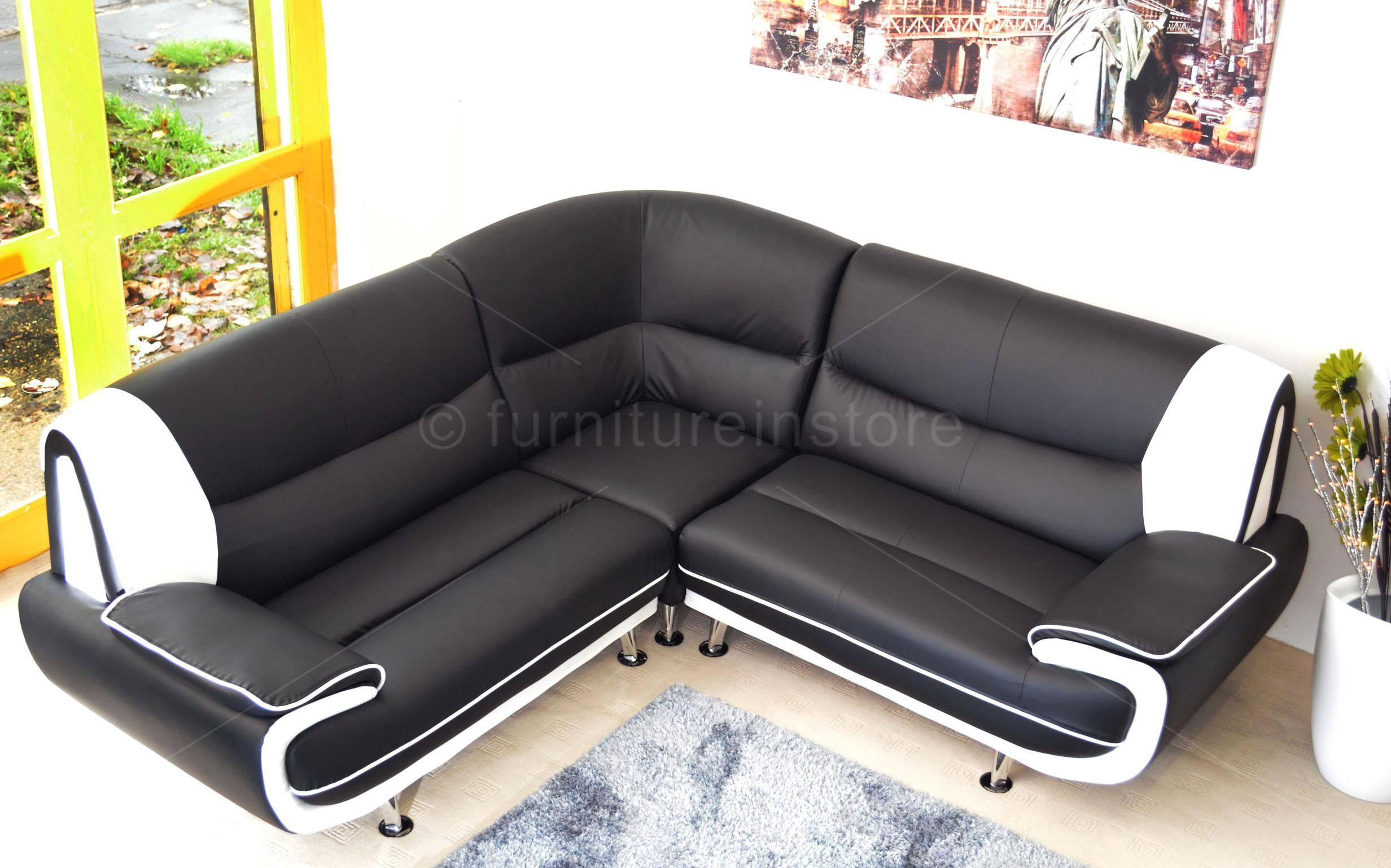 White Faux Leather Corner Sofa | Tehranmix Decoration regarding Large Black Leather Corner Sofas (Image 30 of 30)