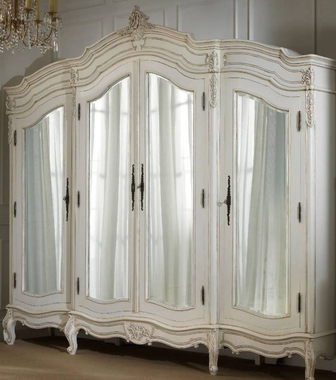 White French Armoire Wardrobe With Mirror : Beautiful French in French Armoires Wardrobes (Image 15 of 15)