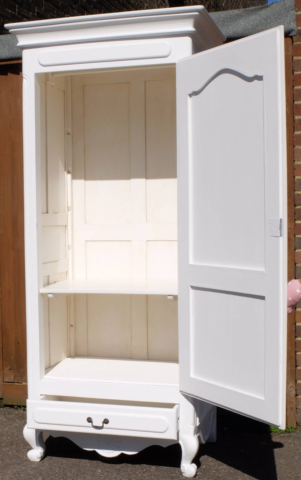 White French Style Single Door Wardrobe - Home Sweet Homehome for Single White Wardrobes (Image 15 of 15)