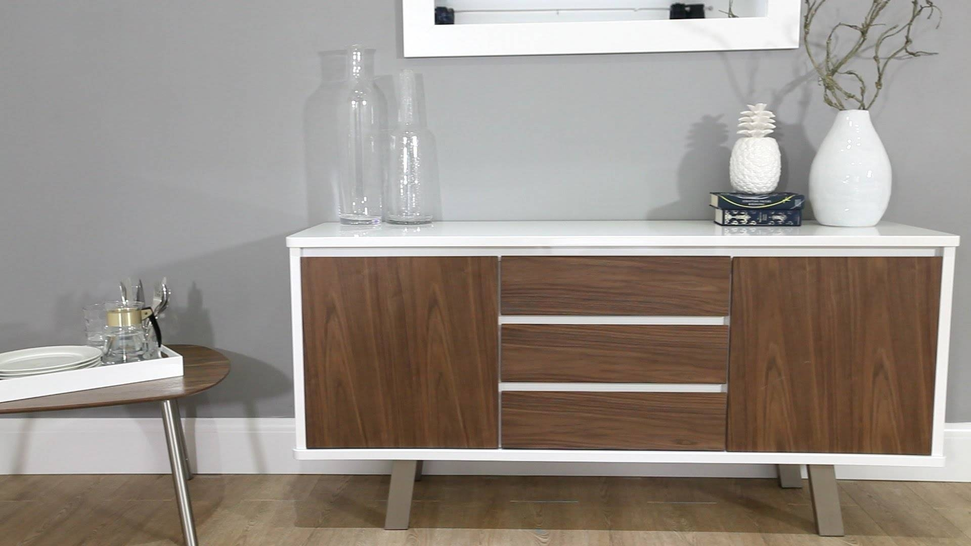 White Gloss And Walnut Sideboard Danetti - Youtube in Walnut And Black Sideboards (Image 30 of 30)