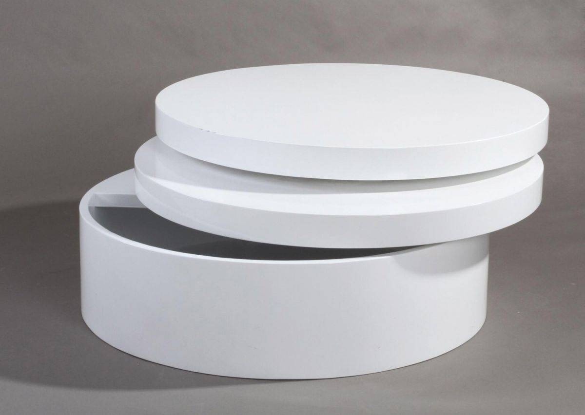 White Gloss Coffee Table Round | Coffee Tables Decoration Inside Large Low White Coffee Tables (View 24 of 30)