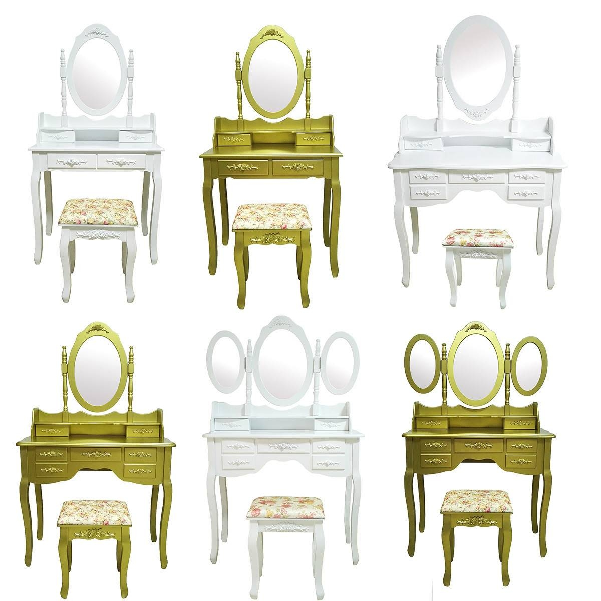 White Gold Makeup Desk Dressing Table With Stool Drawers And Oval pertaining to Gold Table Mirrors (Image 24 of 25)
