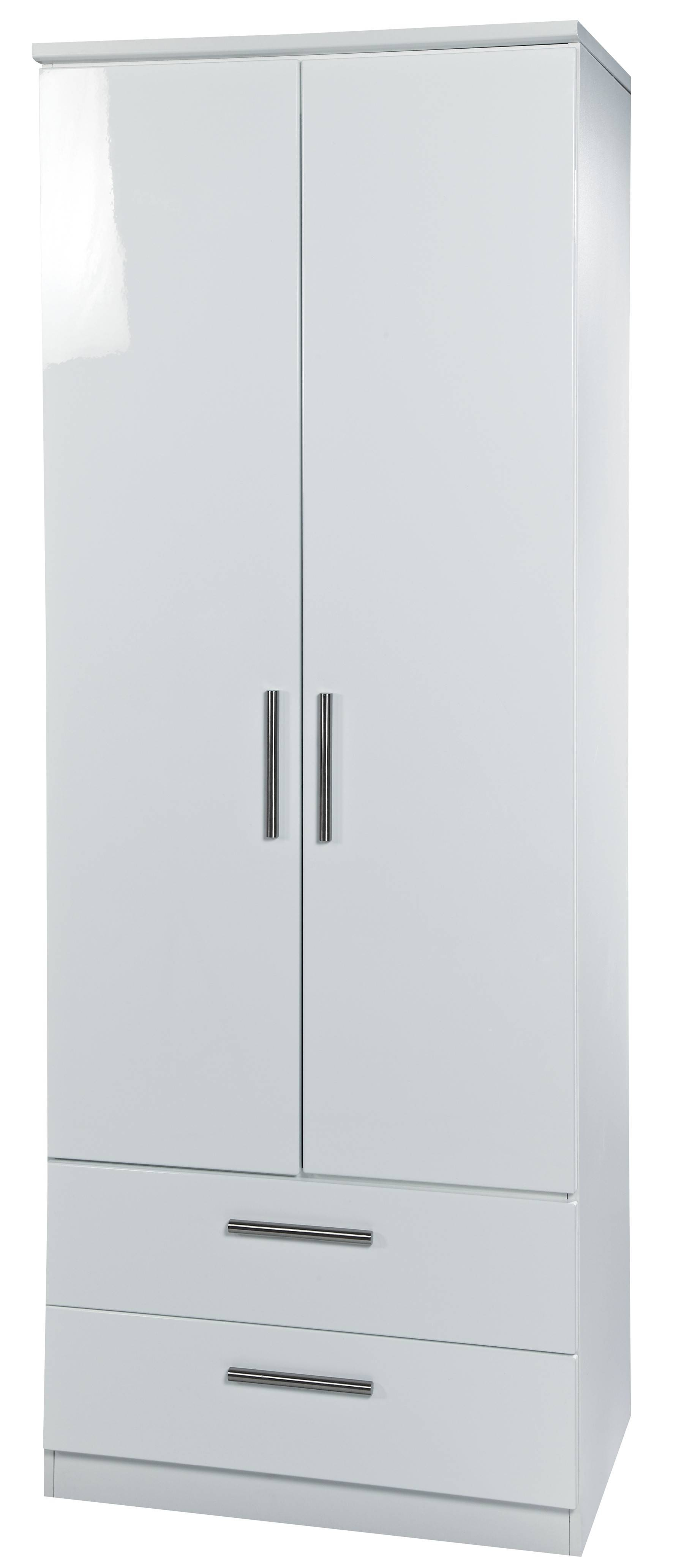 White High Gloss 2'6 2 Drawer Wardrobe For Wardrobes White Gloss (View 14 of 15)