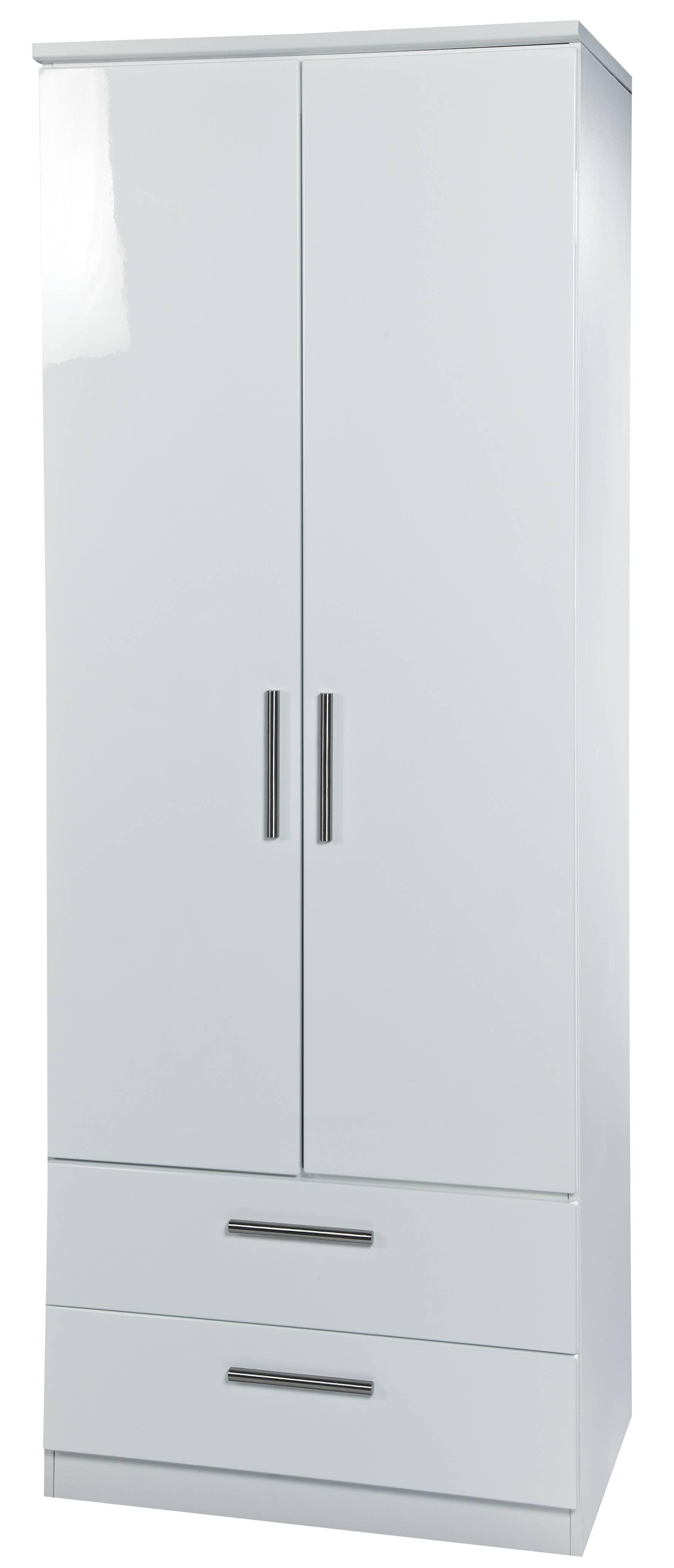 White High Gloss 2'6 2 Drawer Wardrobe throughout High Gloss White Wardrobes (Image 14 of 15)