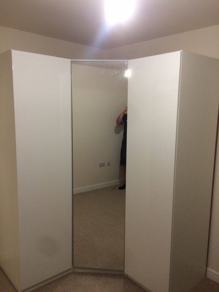 White High Gloss Ikea Corner Wardrobe With Mirrored Door | In in Corner Mirror Wardrobes (Image 15 of 15)