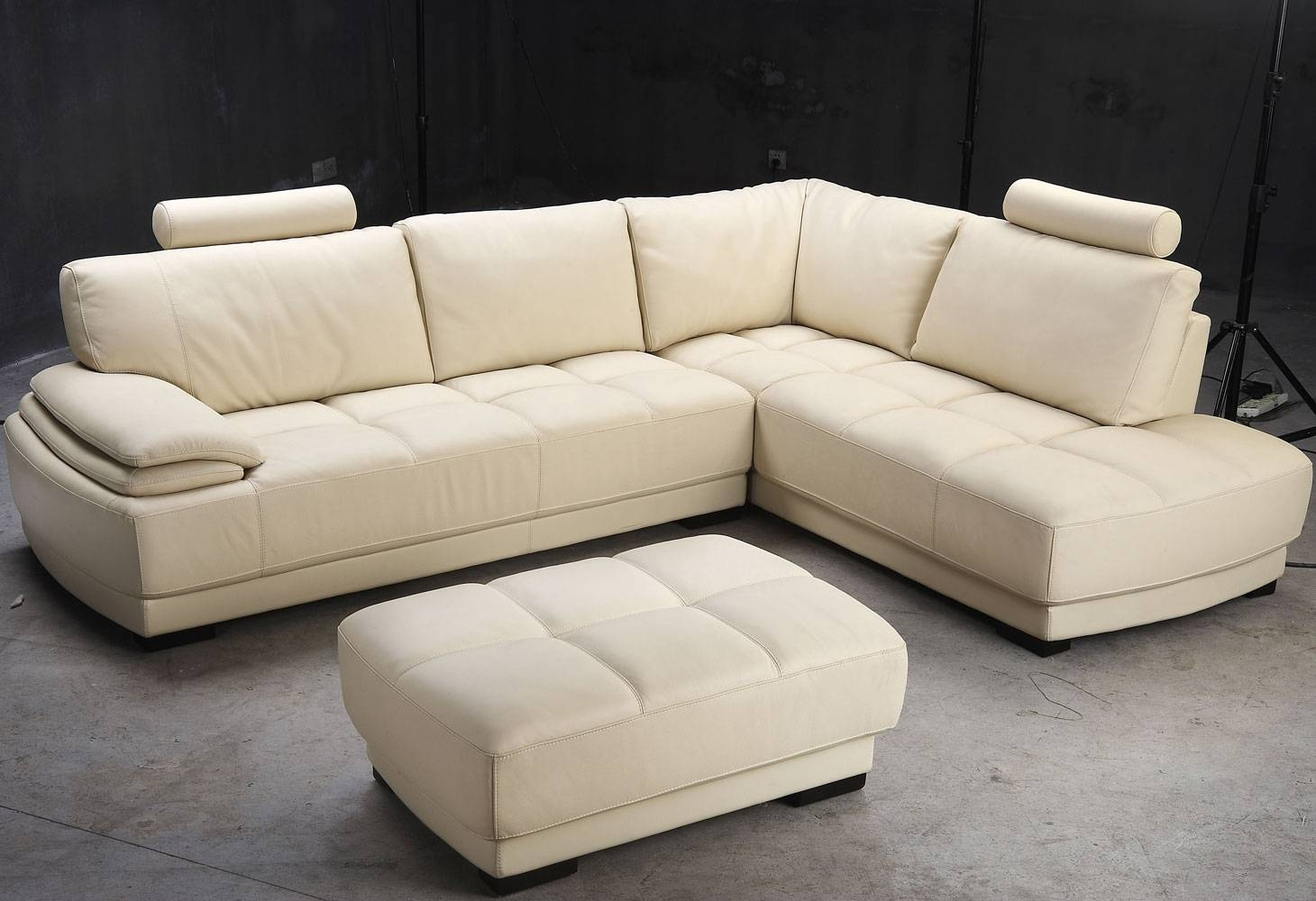 White Ivory Leather L Shaped Sectional Sofa With Chaise Of pertaining to L Shaped Sectional Sleeper Sofa (Image 24 of 25)