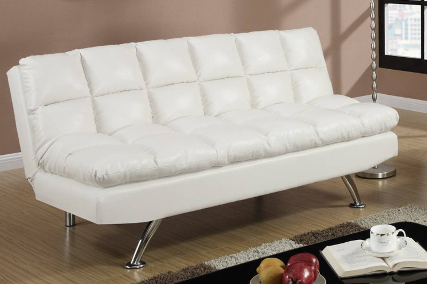 White Leather Twin Size Sofa Bed - Steal-A-Sofa Furniture Outlet for White Leather Sofas (Image 30 of 30)