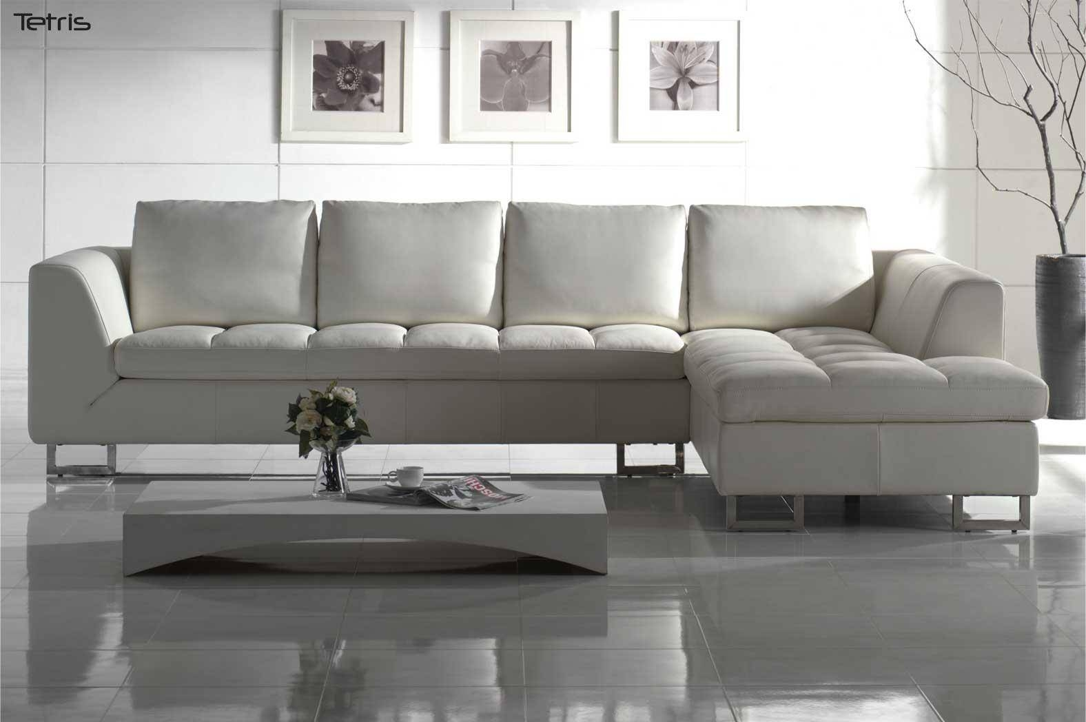 White Modern Leather Sectional Sofa Couch - S3Net - Sectional throughout White Modern Sofas (Image 29 of 30)