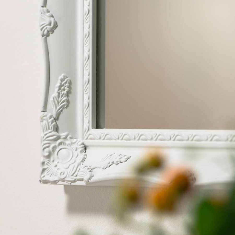 White Ornate French Mirrorhand Crafted Mirrors throughout White Ornate Mirrors (Image 23 of 25)
