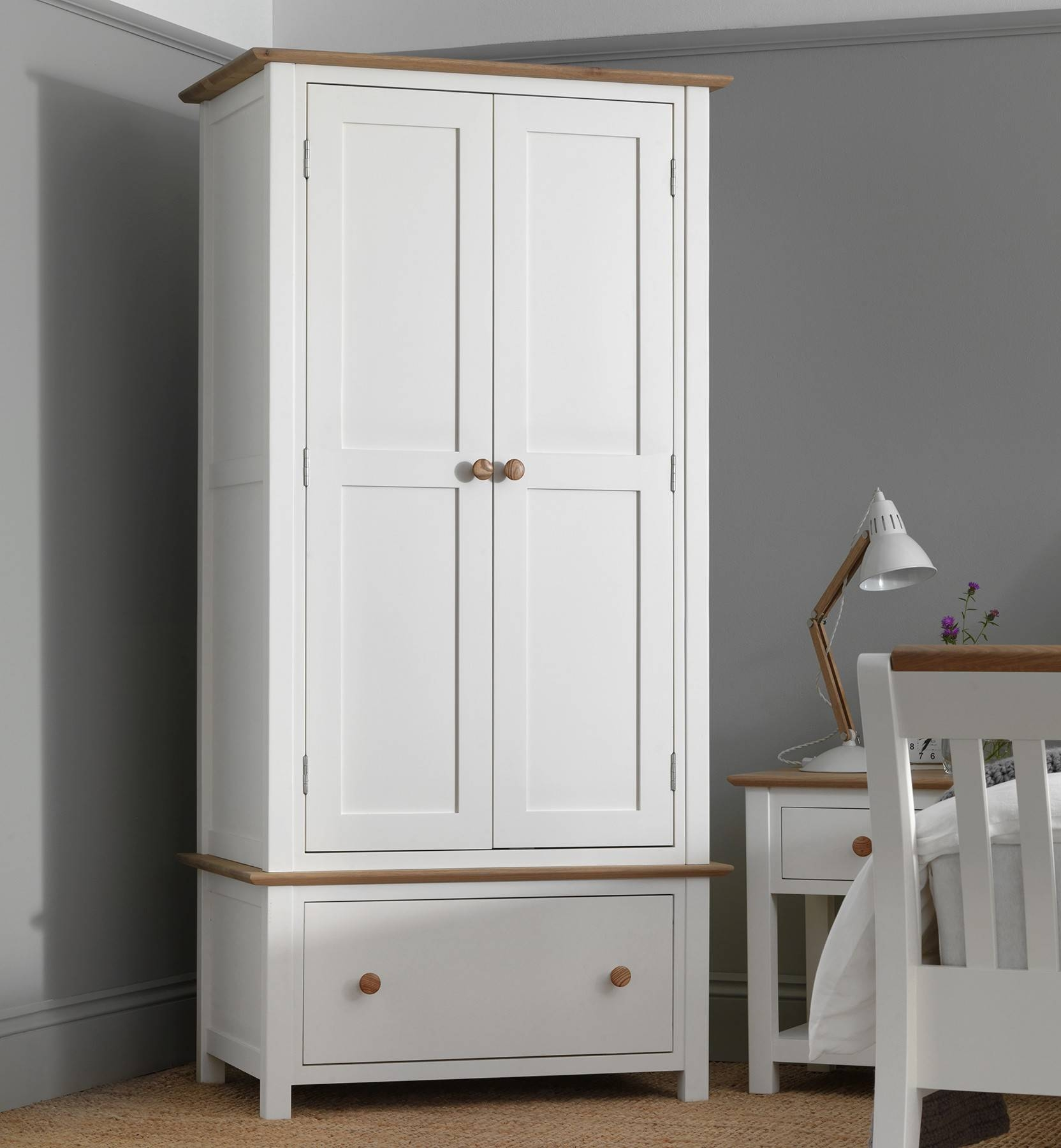 White Paint Wood Wardrobe With Brown Wood Pull And White Wood Side with regard to White Wood Wardrobes (Image 13 of 15)