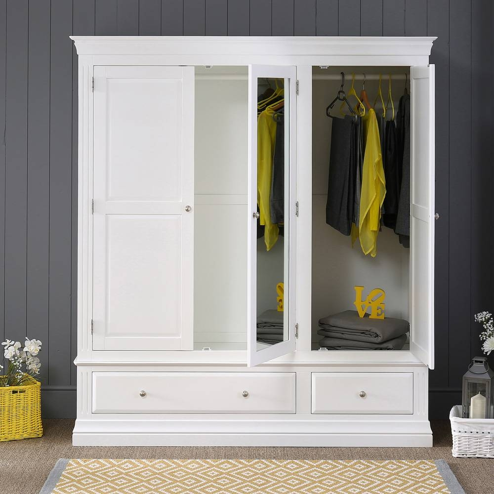 White Painted 3 Door 2 Drawer Triple Wardrobe With Mirror within 3 Door White Wardrobes With Drawers (Image 15 of 15)