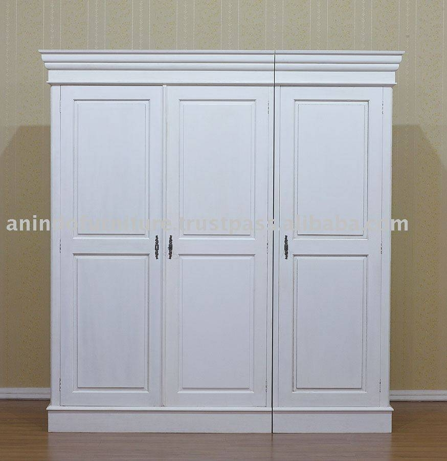 White Painted Furniture – 3 Doors Wardrobe – Buy White Painted Throughout White Painted Wardrobes (View 6 of 15)