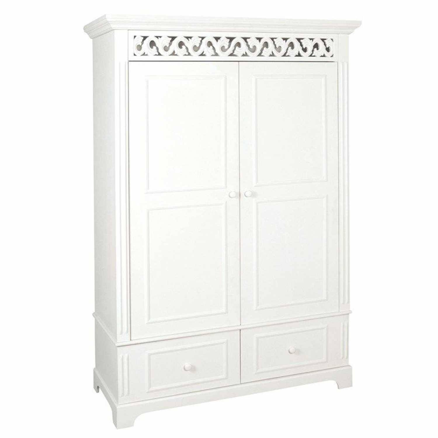 White Painted Shabby Chic Belgravia Large Double 2 Drawer Wardrobe with Large Shabby Chic Wardrobes (Image 15 of 15)