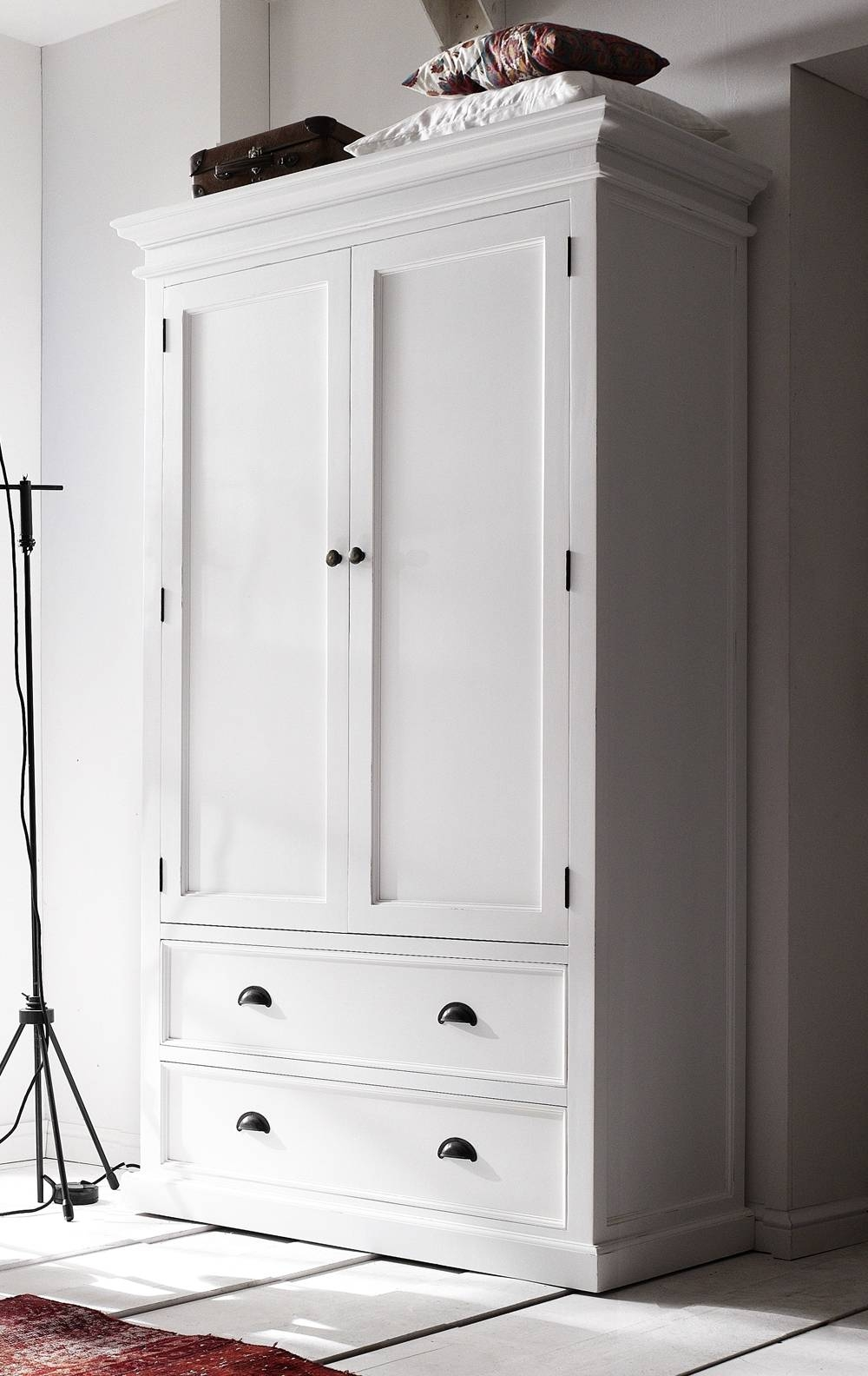 White Painted Wardrobe With 2 Drawers - Belgravia Painted intended for White Wooden Wardrobes (Image 14 of 15)
