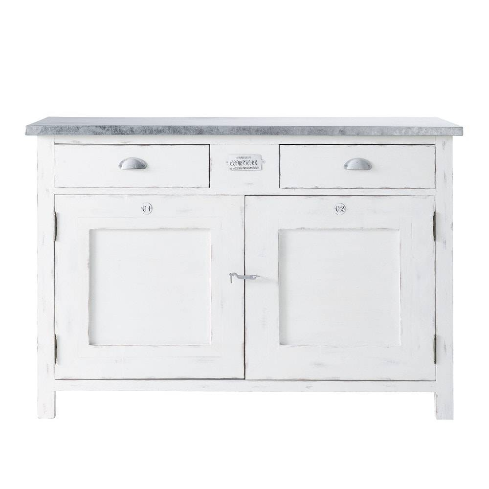 White Paulownia Wood 2-Door 2-Drawer Sideboard W 125Cm Sorgues with regard to White Wooden Sideboards (Image 27 of 30)