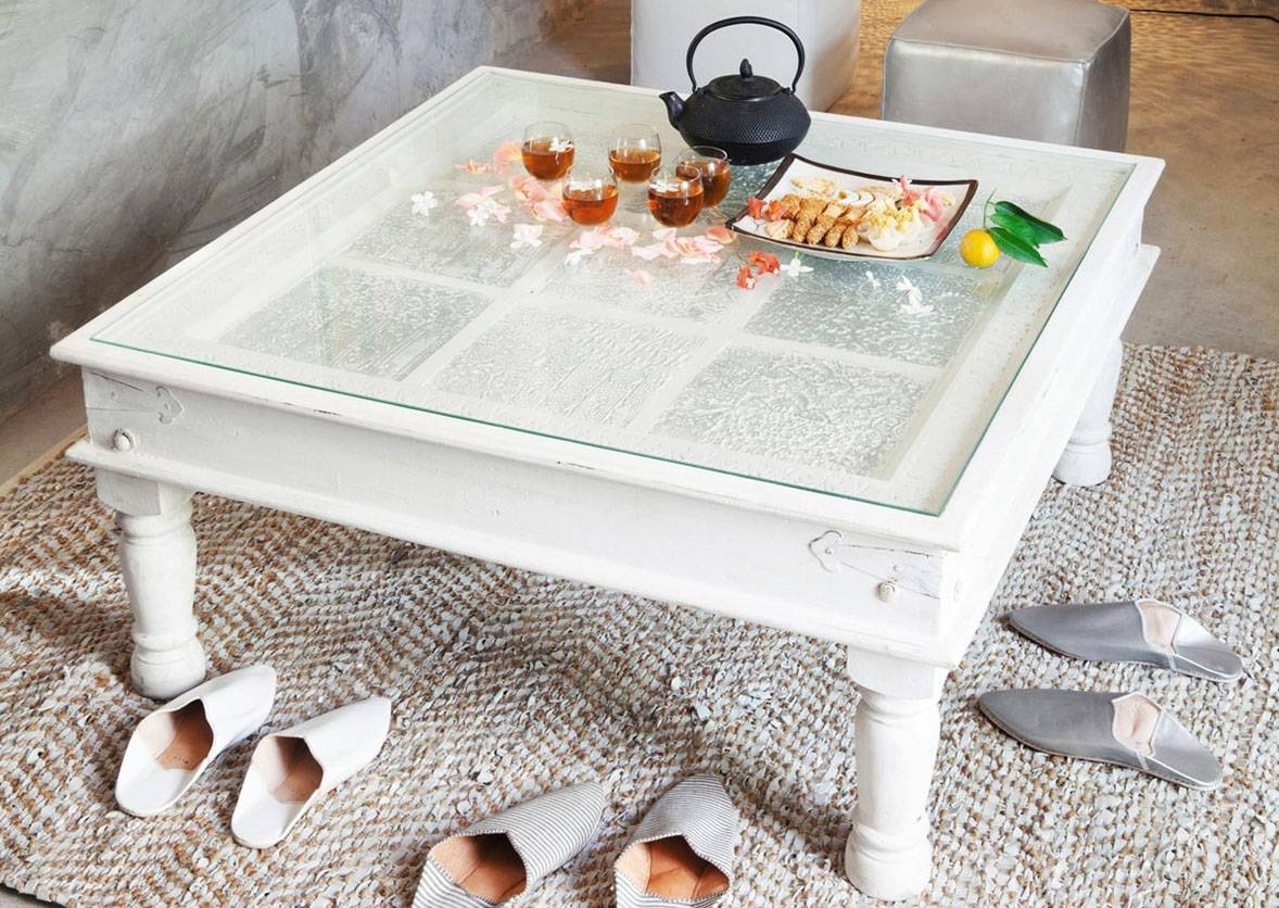 White Square Coffee Table With Glass On Top | Homefurniture Throughout White Wood And Glass Coffee Tables (View 16 of 30)