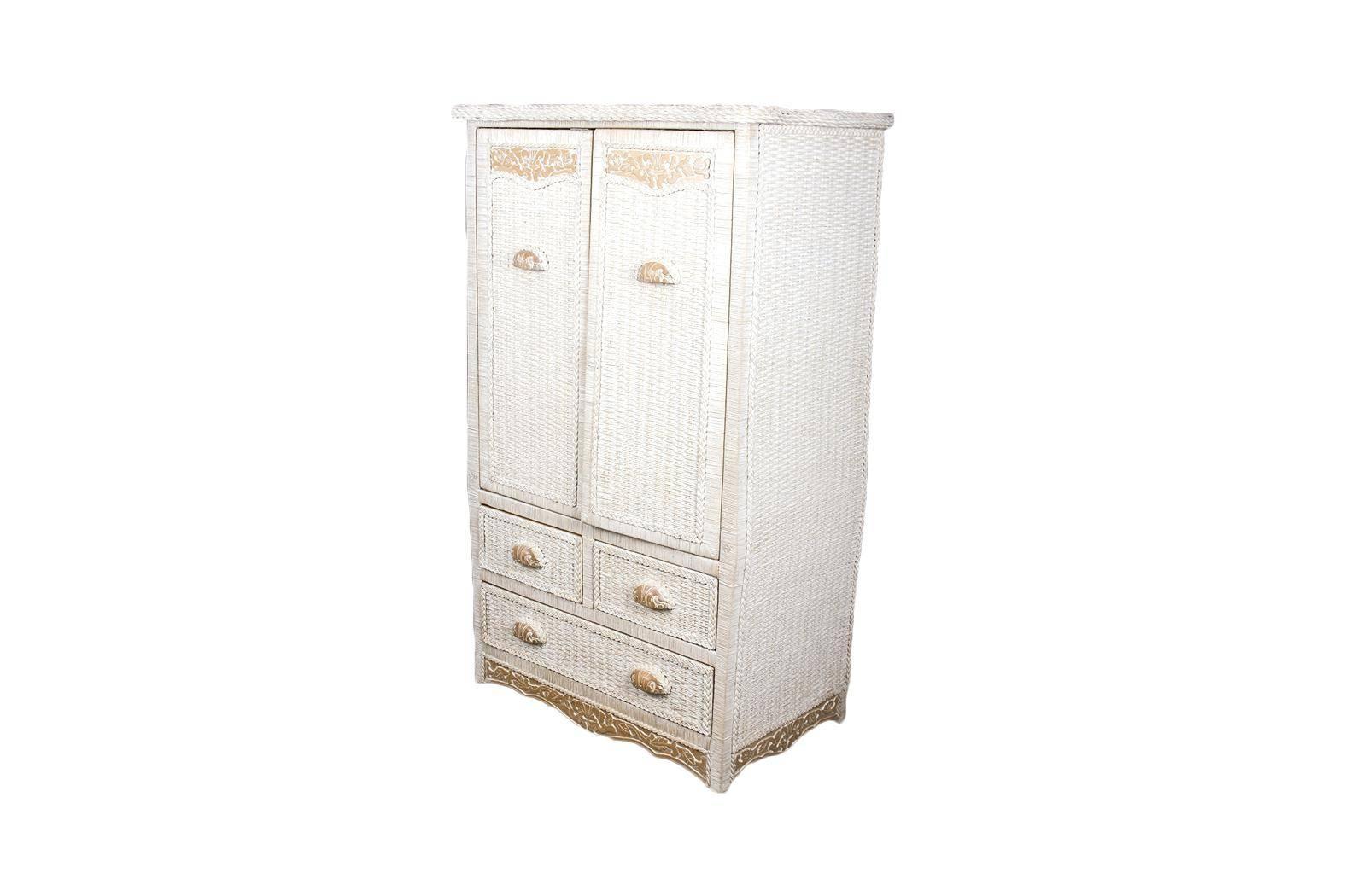 White Standing Mirror Jewelry Armoire Wicker Wardrobe Ebay Corner within Wicker Armoire Wardrobes (Image 14 of 15)