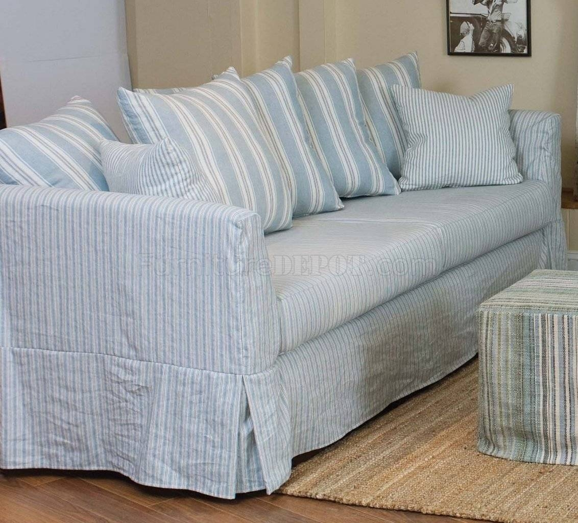 & White Striped Fabric Classic Sofa & Oversize Chair with Striped Sofas and Chairs (Image 3 of 30)