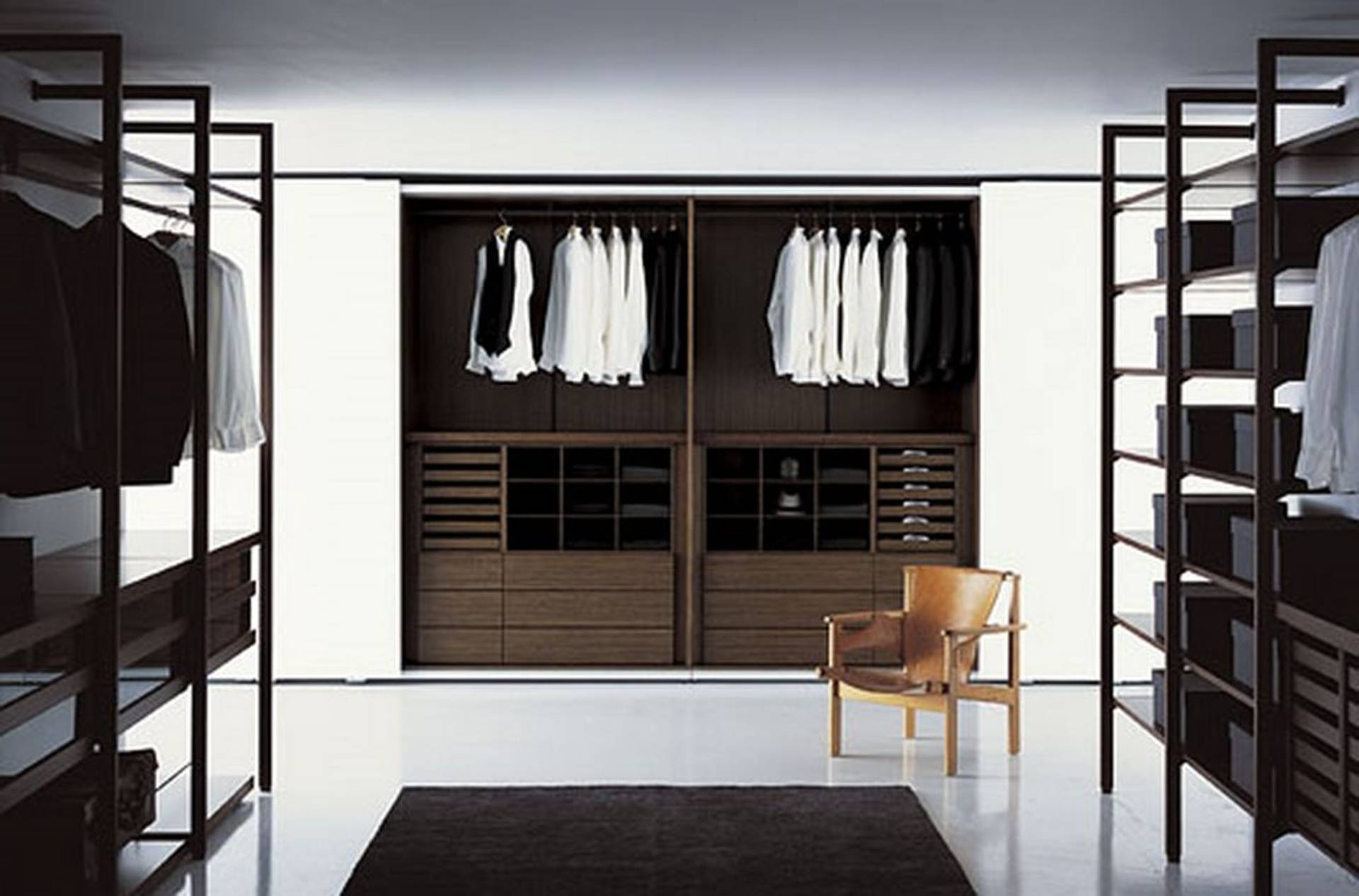 White Wall With Planted Wardrobe Closet Made Of Wooden In Dark with Dark Wood Wardrobe Closet (Image 30 of 30)