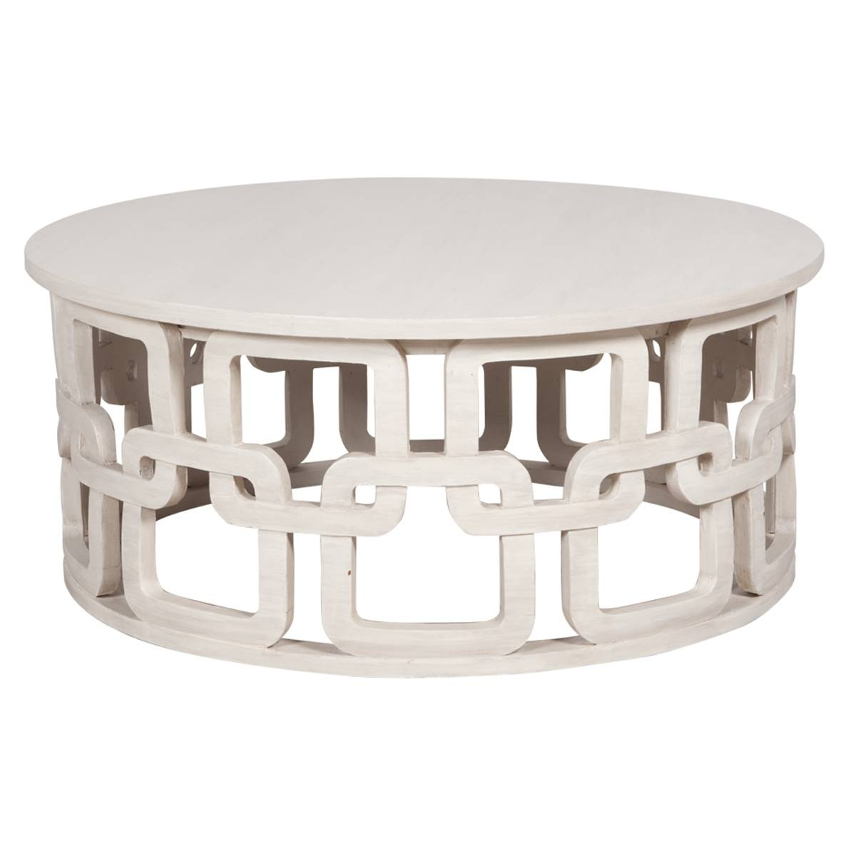 White Washed Round Coastal Coffee Table with Round Coffee Tables (Image 30 of 30)