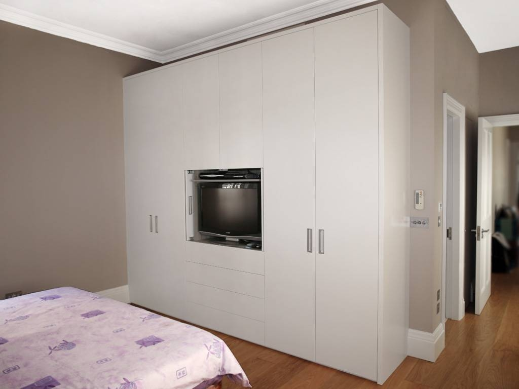 White Wood Contemporary Fitted Wardrobe | Bespoke Furniture in White Wood Wardrobes (Image 14 of 15)