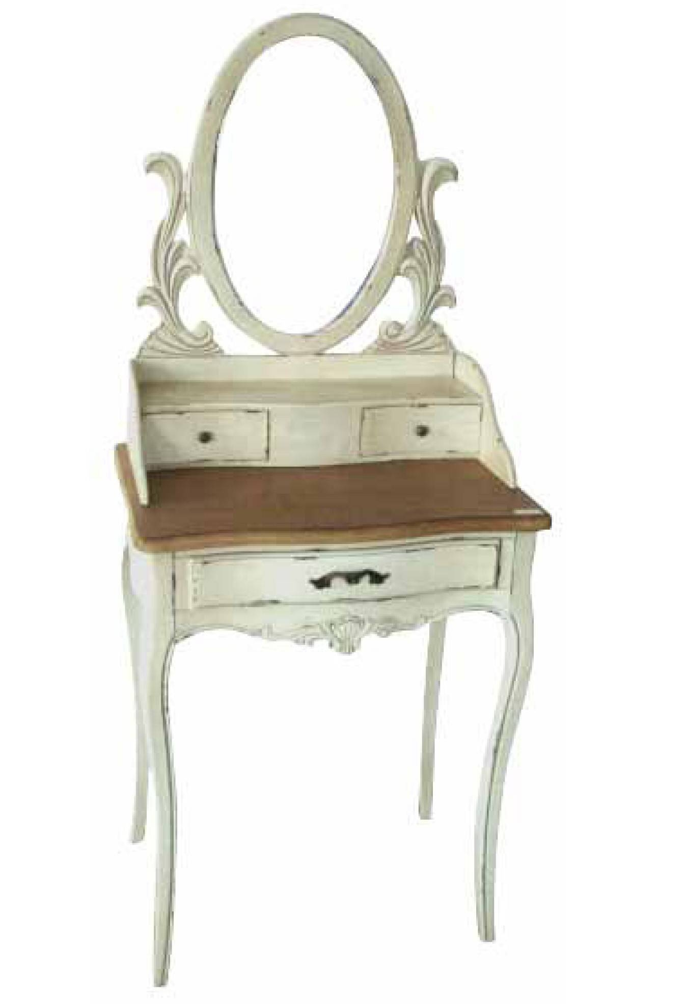 White Wooden Vanity With Drawers And Small Oval Mirror With White regarding Small Antique Mirrors (Image 25 of 25)