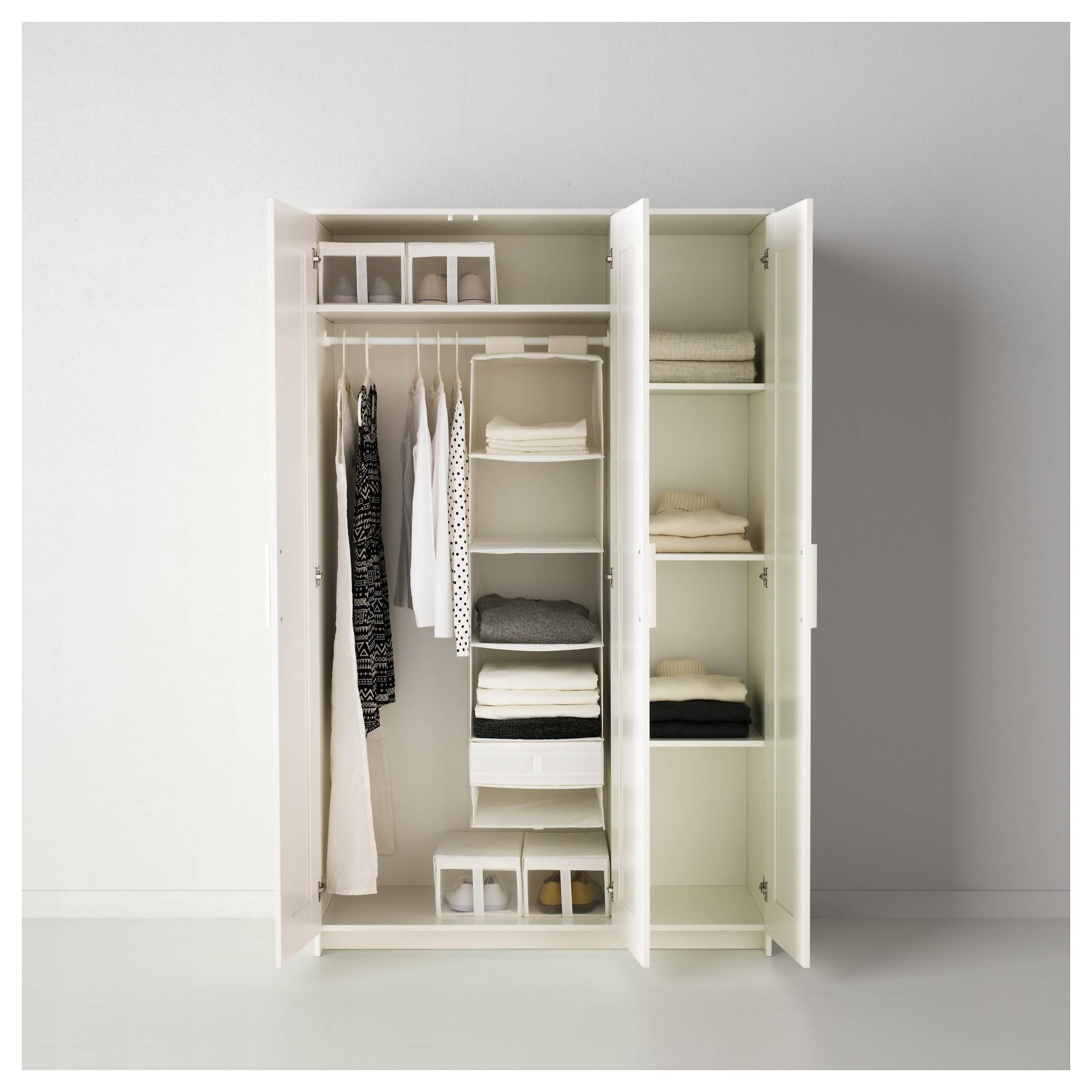 White Wooden Wardrobe With Drawer And Shelf Also Rectangle White with regard to Double Wardrobe With Drawers And Shelves (Image 30 of 30)