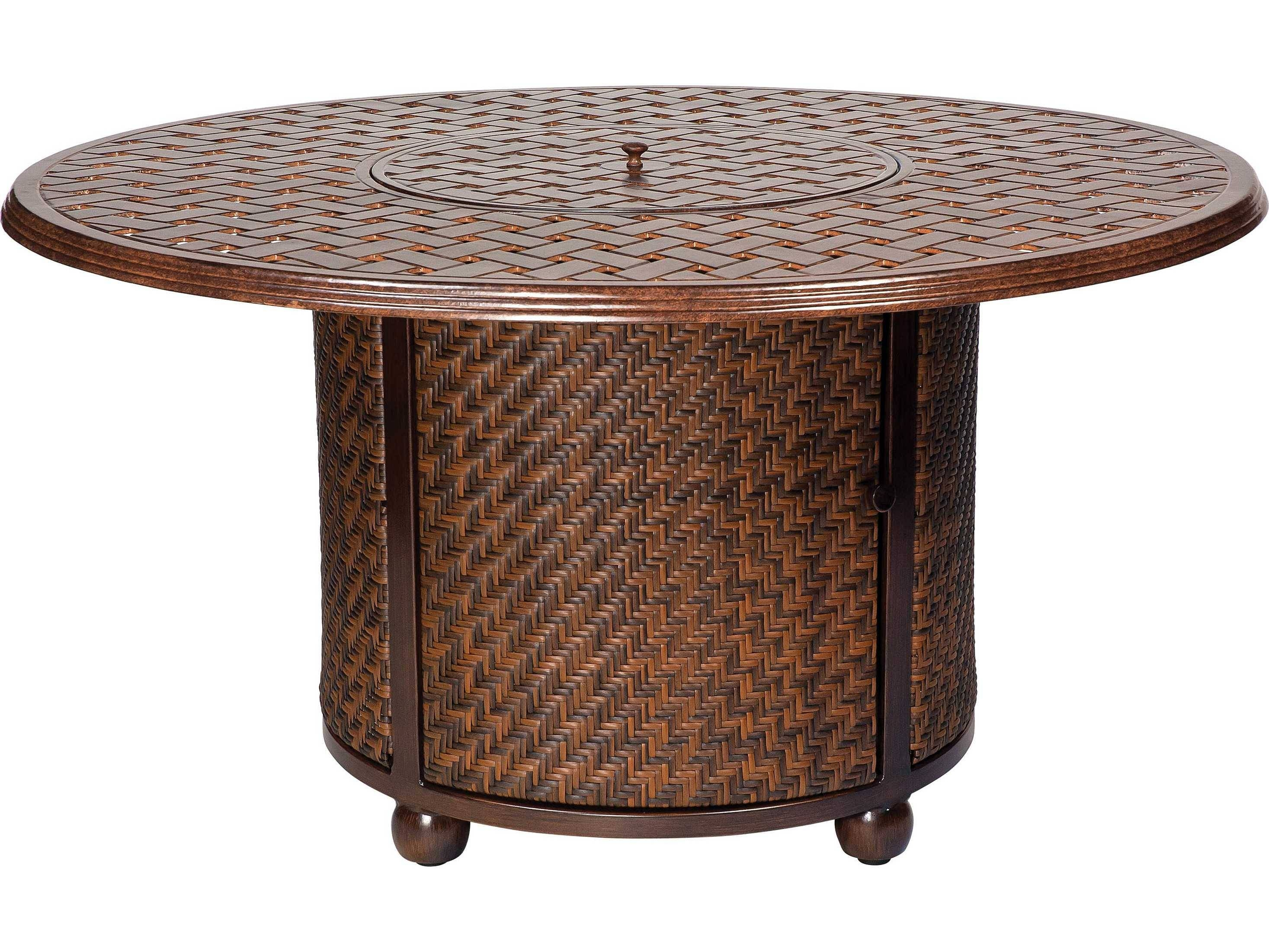 Whitecraft North Shore Wicker Chat Height Fire Table With Woven for Round Woven Coffee Tables (Image 26 of 30)