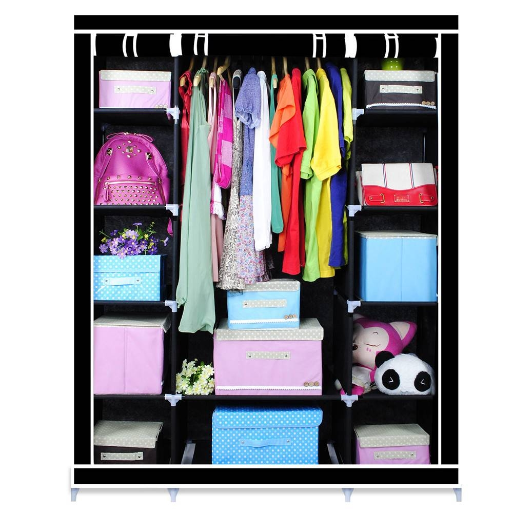 Wholesale Bedroom Cupboards - Online Buy Best Bedroom Cupboards inside Double Canvas Wardrobe Rail Clothes Storage Cupboard (Image 26 of 30)