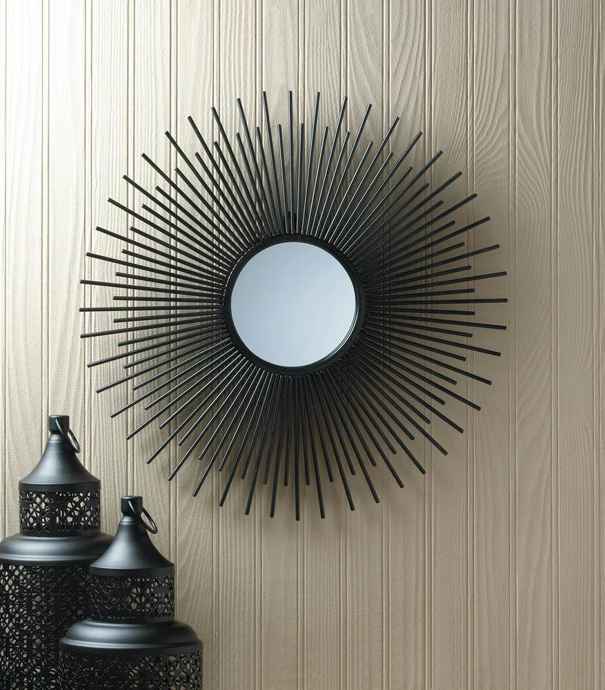 Wholesale Black Wrought Iron Bursting Sun Wall Mirror: Modern Iron regarding Sun Mirrors (Image 25 of 25)