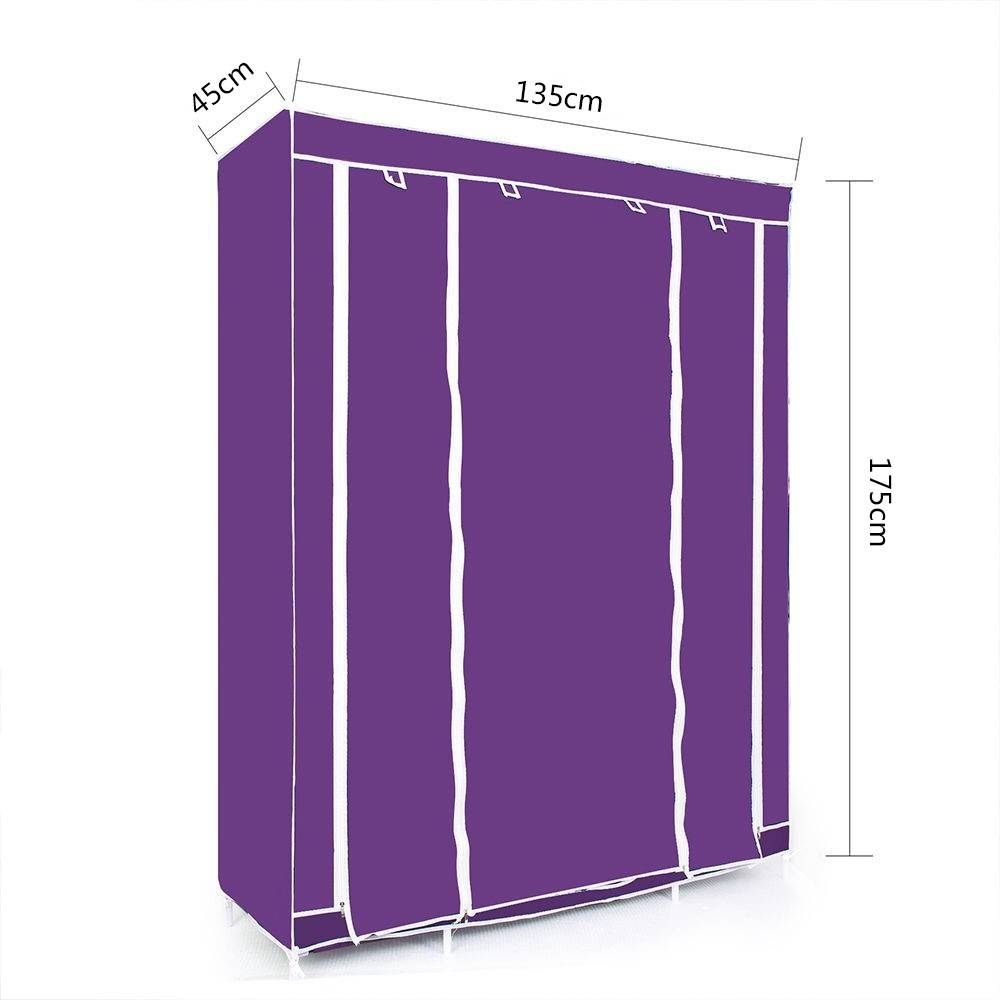 Wholesale Double/triple Canvas Wardrobe Cupboard Hanging Clothes in Double Canvas Wardrobes Rail Clothes Storage (Image 28 of 30)