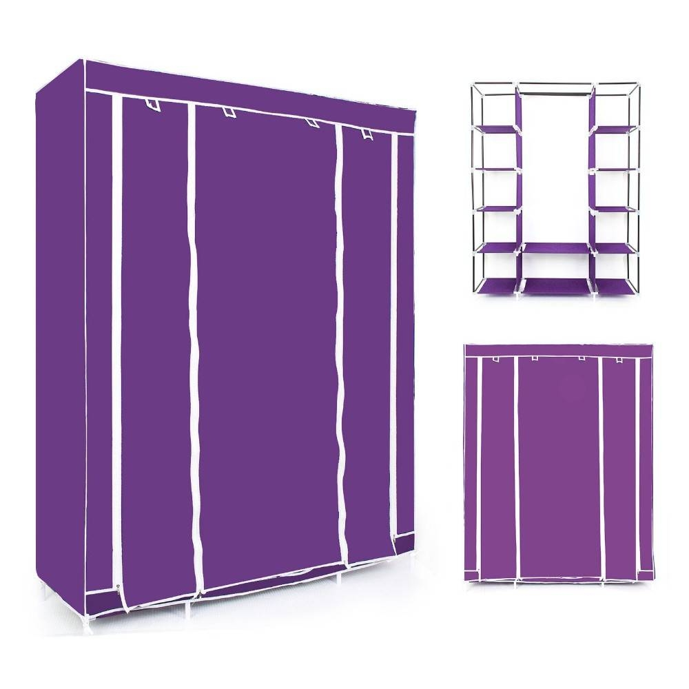 Wholesale Double/triple Canvas Wardrobe Cupboard Hanging Clothes regarding Double Canvas Wardrobes Rail Clothes Storage (Image 29 of 30)