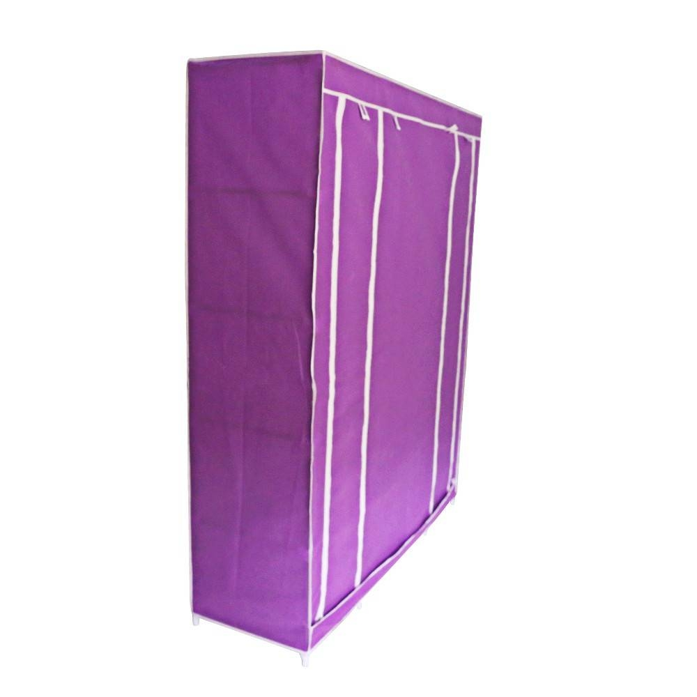 Wholesale Double/triple Canvas Wardrobe Cupboard Hanging Clothes regarding Double Rail Canvas Wardrobes (Image 30 of 30)