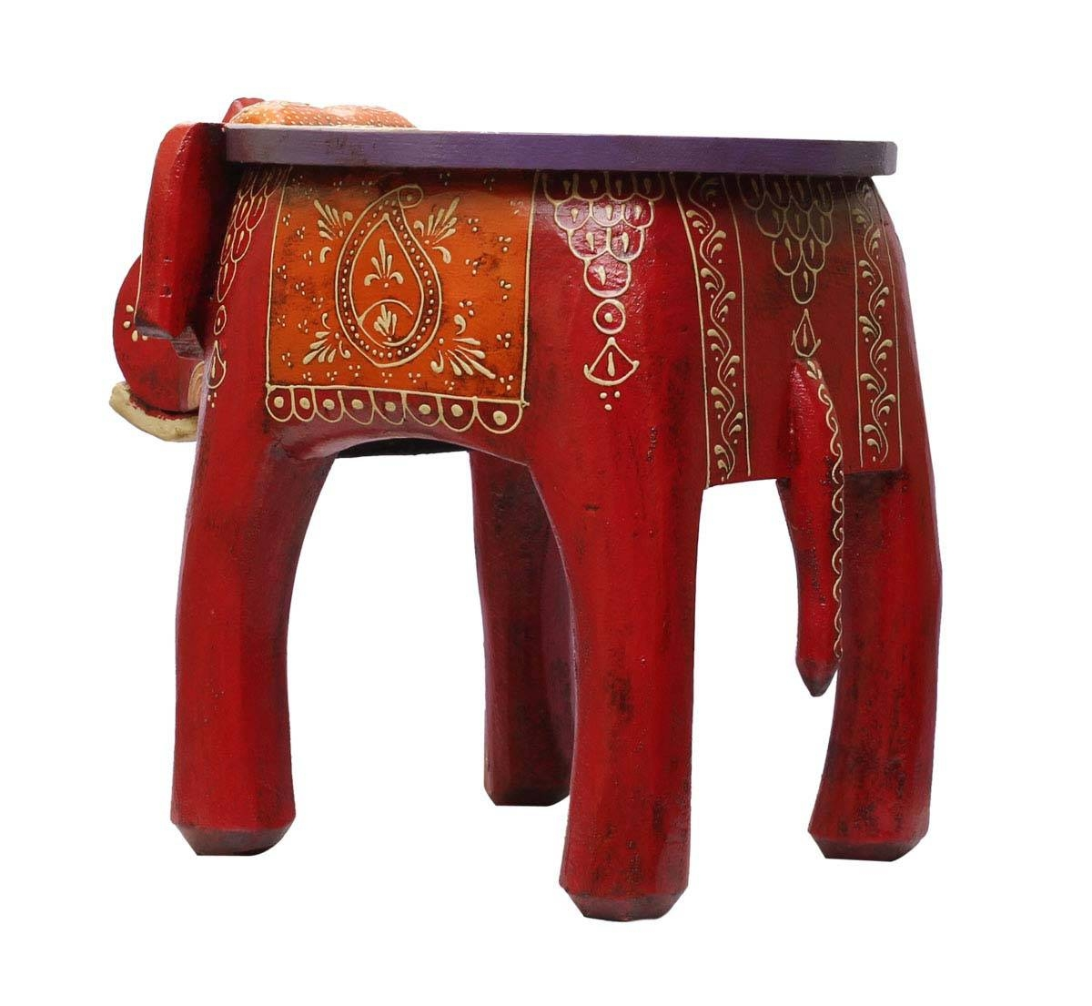 """Wholesale Handmade 12"""" Elephant Shaped Wooden Round Red Coffee Throughout Round Red Coffee Tables (Photo 24 of 30)"""