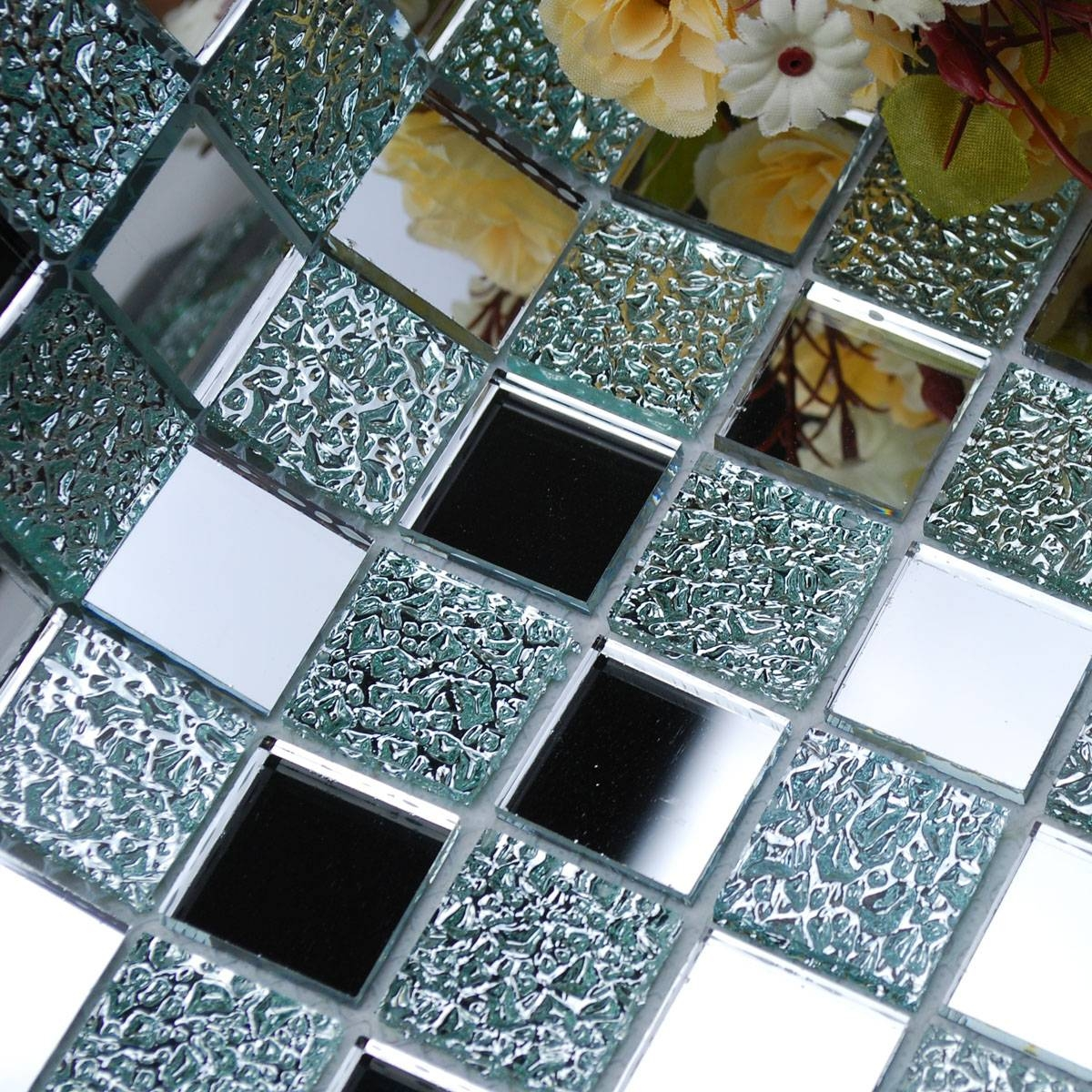 Wholesale Mirror Tile Squares Blue Bathroom Mirrored Wall Tile for Mosaic Mirrors (Image 24 of 25)