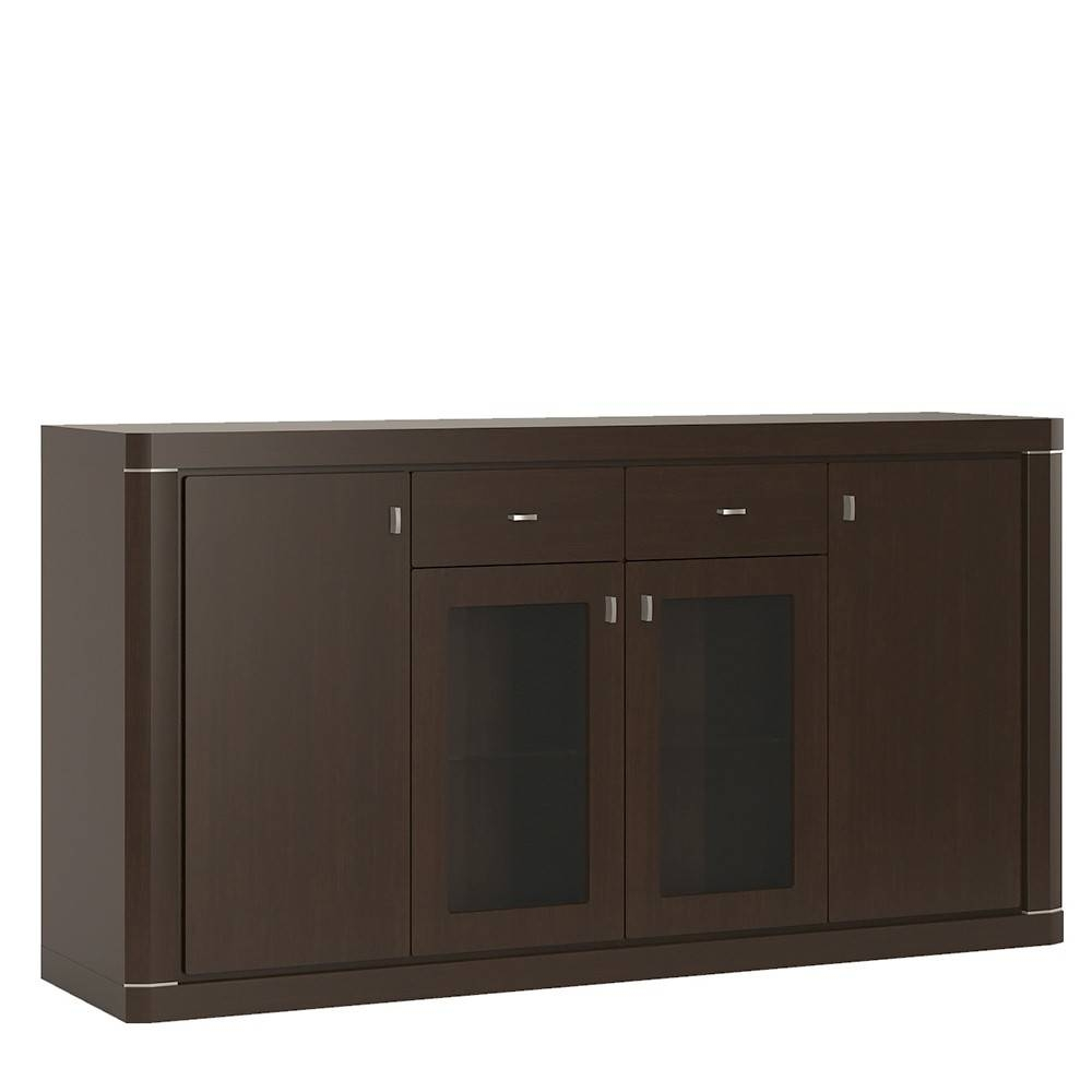 Wide 4 Door 2 Drawer Glazed Sideboard In Dark Wenge with regard to Dark Brown Sideboards (Image 30 of 30)