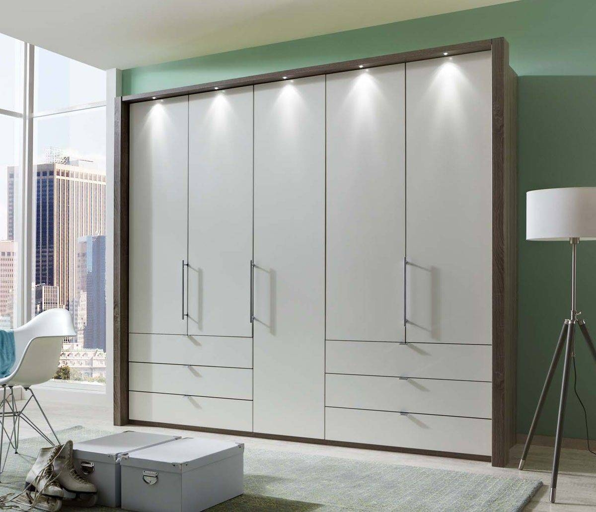 Wiemann Loft 5 Door Wardrobe With 6 Drawers With Bi Fold Panorama Intended For 5 Door Wardrobes (View 14 of 15)