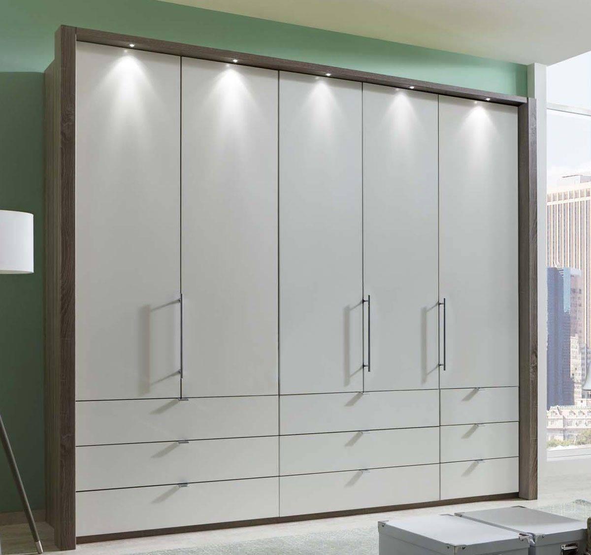 Wiemann Loft 5 Door Wardrobe With 9 Drawers With Bi Fold Panorama Within 5 Door Wardrobes (View 12 of 15)