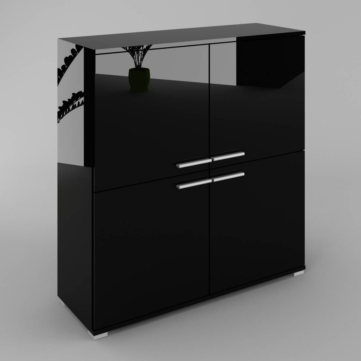 Wiki Sideboard, 4 Doors Black High Gloss And Black Mat regarding High Gloss Black Sideboards (Image 30 of 30)