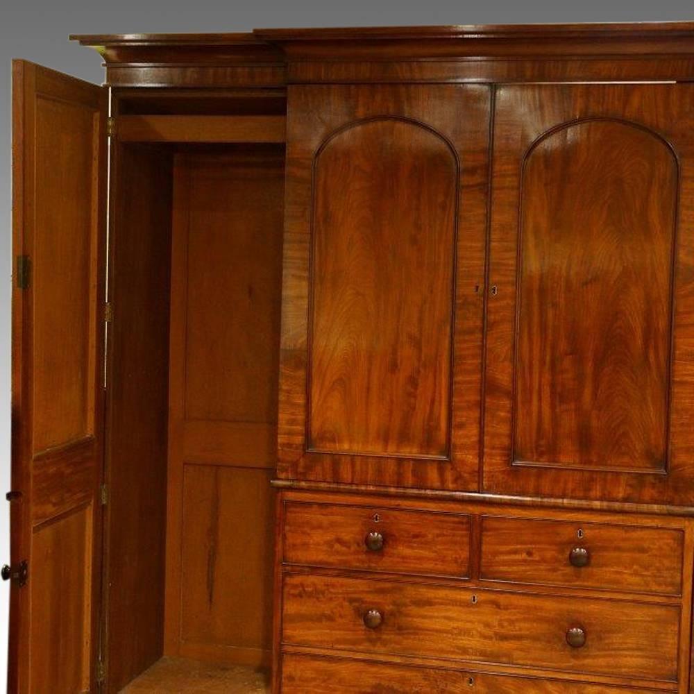 William Iv Mahogany 4 Door Break-Front Wardrobe Now Sold with Breakfront Wardrobe (Image 29 of 30)