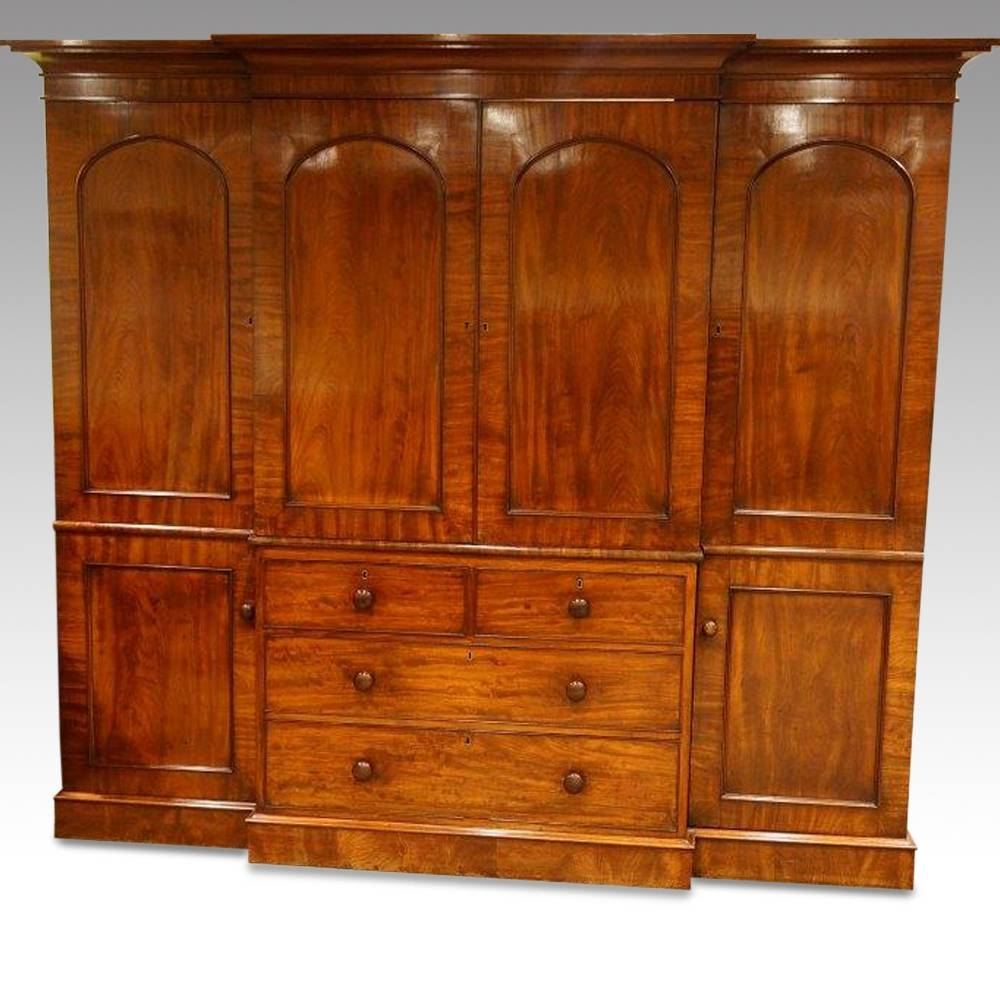 William Iv Mahogany 4 Door Break-Front Wardrobe Now Sold within Antique Breakfront Wardrobe (Image 30 of 30)