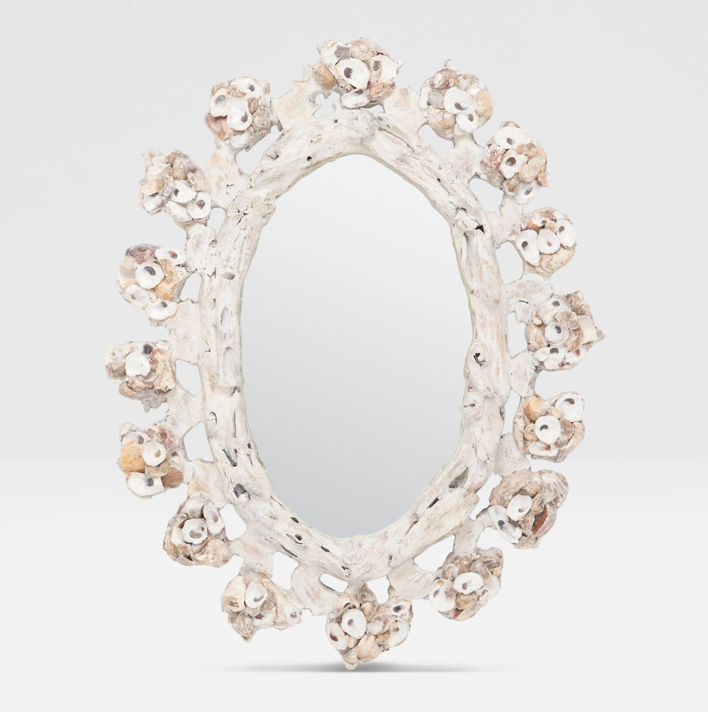 Willis White Oval Oyster Shell Mirror - Mecox Gardens with regard to White Oval Mirrors (Image 25 of 25)