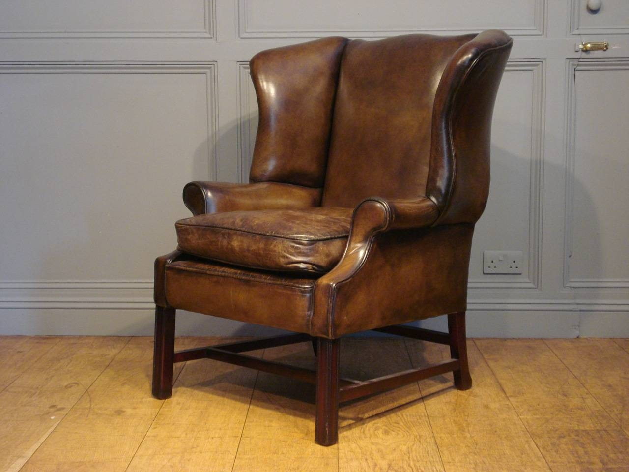 Winged Leather Armchair in Vintage Leather Armchairs (Image 30 of 30)