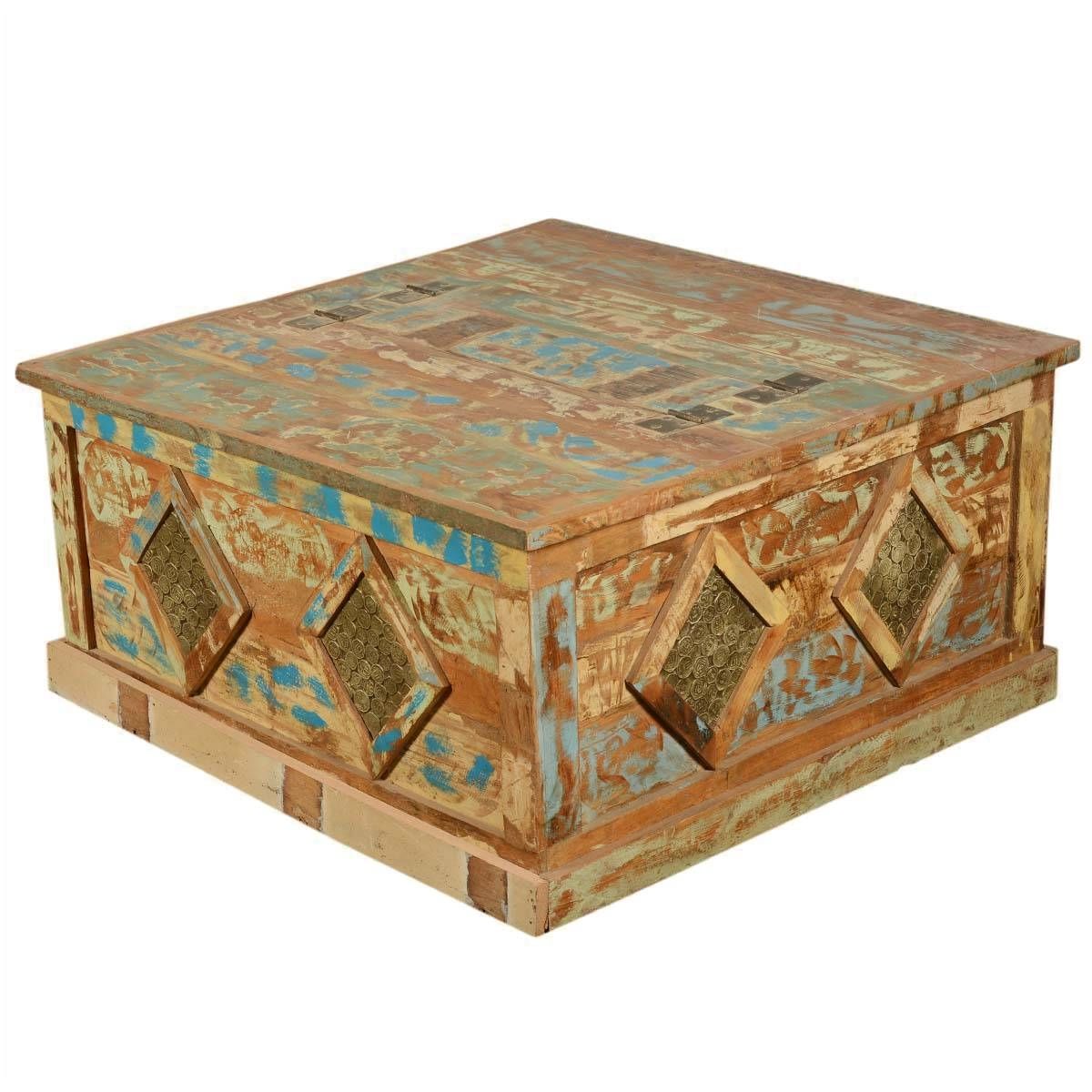 Winter Buddha Mango Wood & Brass Rustic Coffee Table Chest within Buddha Coffee Tables (Image 30 of 30)