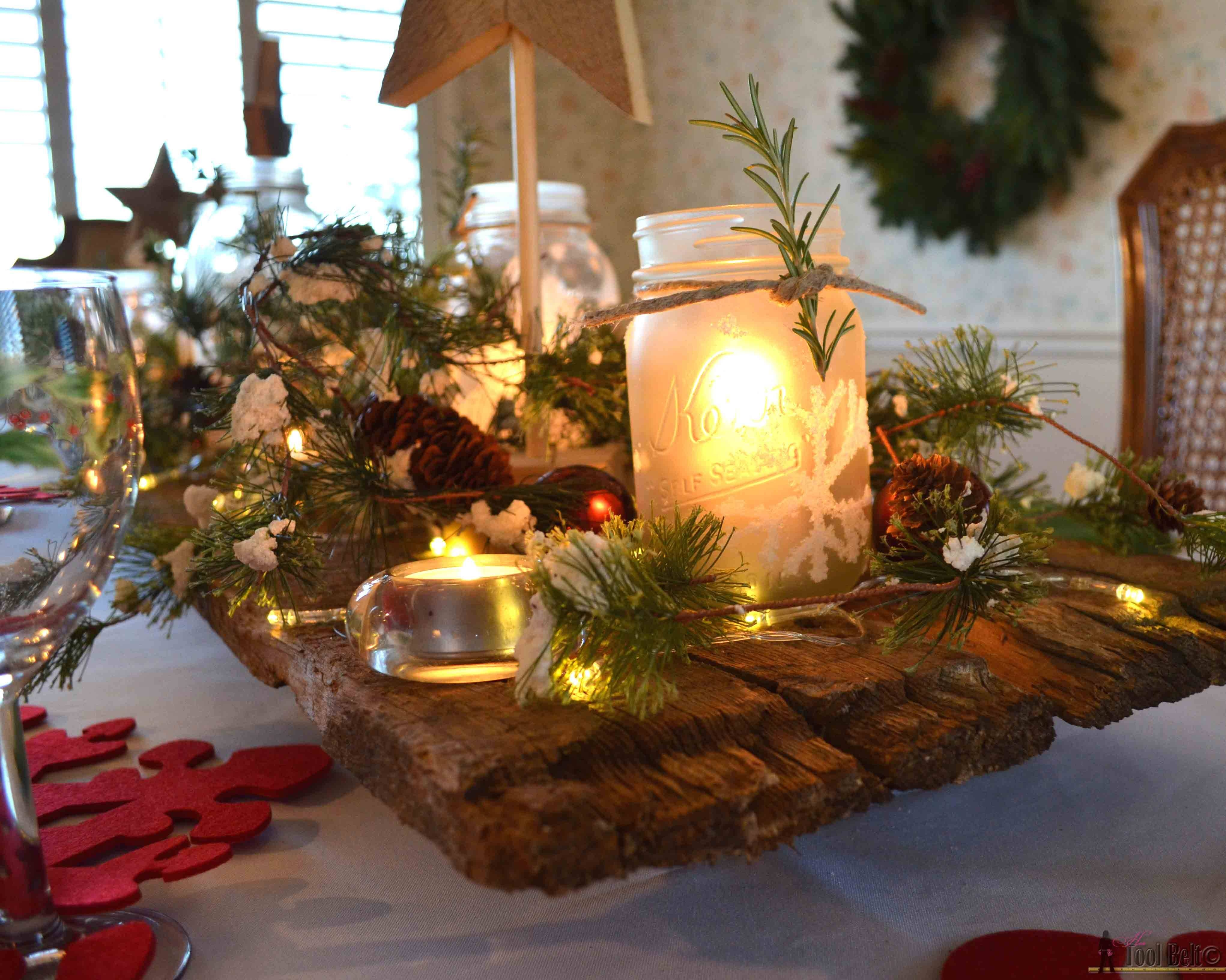 Winter Wonderland Christmas Tablescape – Her Tool Belt For Rustic Christmas Coffee Table Decors (View 22 of 30)