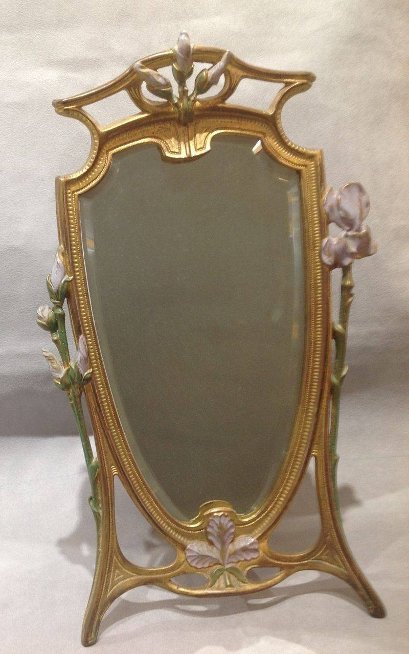 Wonderful Art Nouveau Dresser Mirror With Painted Flowers From in Art Nouveau Mirrors (Image 25 of 25)