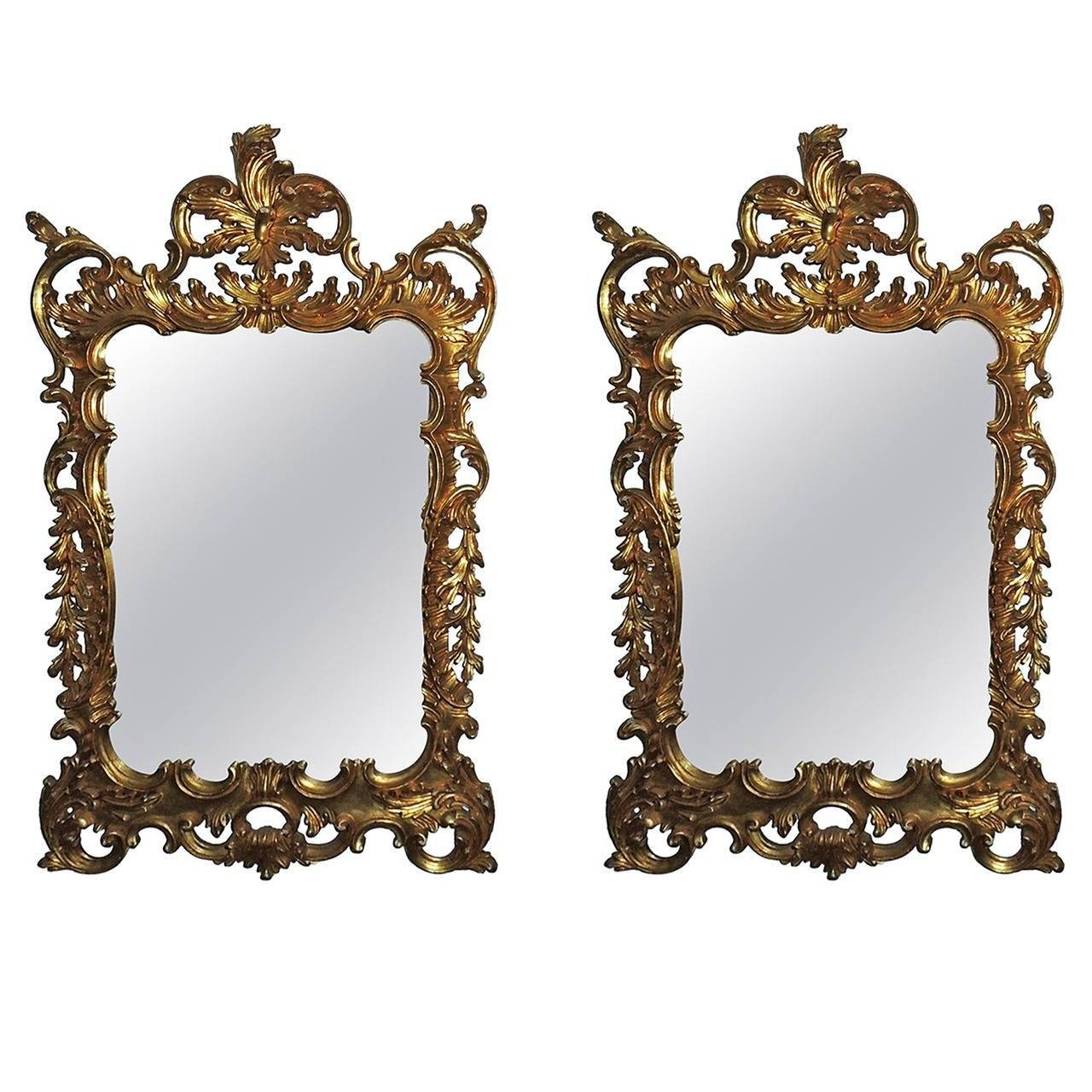 Wonderful Pair Of Italian Gilt Carved Wood Rococo Mirrors With for Gilt Mirrors (Image 25 of 25)
