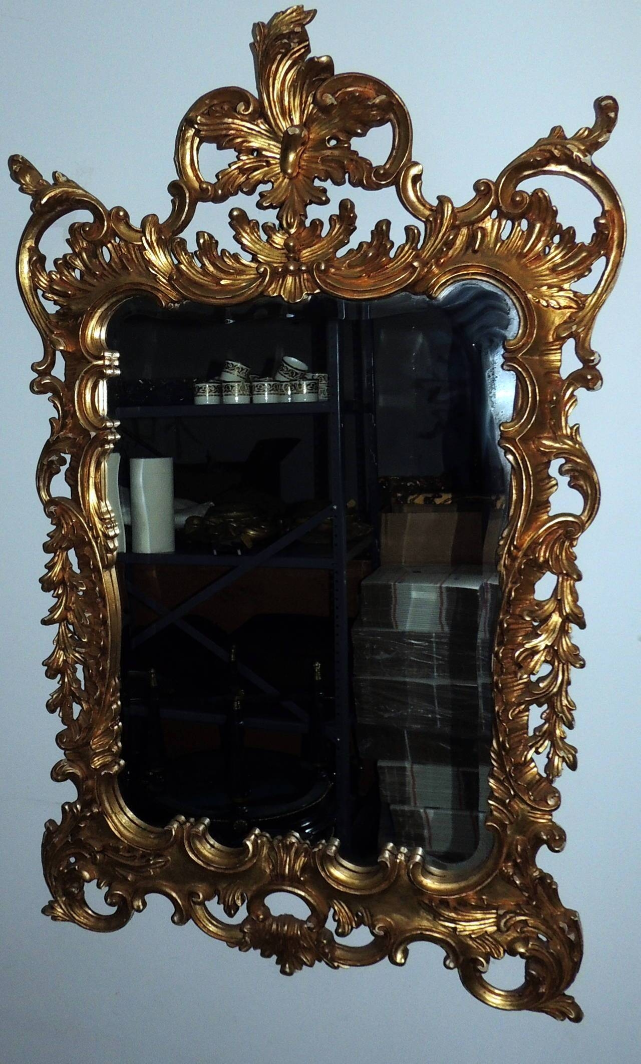 Wonderful Pair Of Italian Gilt Carved Wood Rococo Mirrors With throughout Rococo Mirrors (Image 25 of 25)